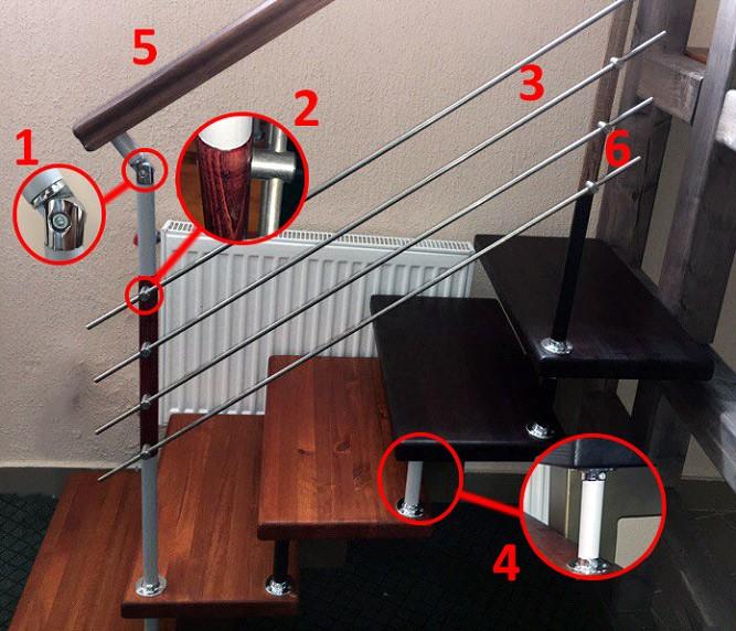 Комплектующие ограждений модульных лестниц